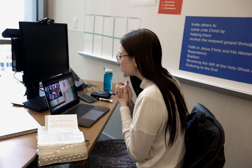 Sister Kimber Young teaches training missionaries Mandarin Chinese via video conferencing at the Provo Missionary Training Center on Wednesday, March 25, 2020. In an attempt to control the spread of COVID-19, missionaries are being trained by remote video conference rather than travel to the The Church of Jesus Christ of Latter-day Saints' 10 missionary training centers.