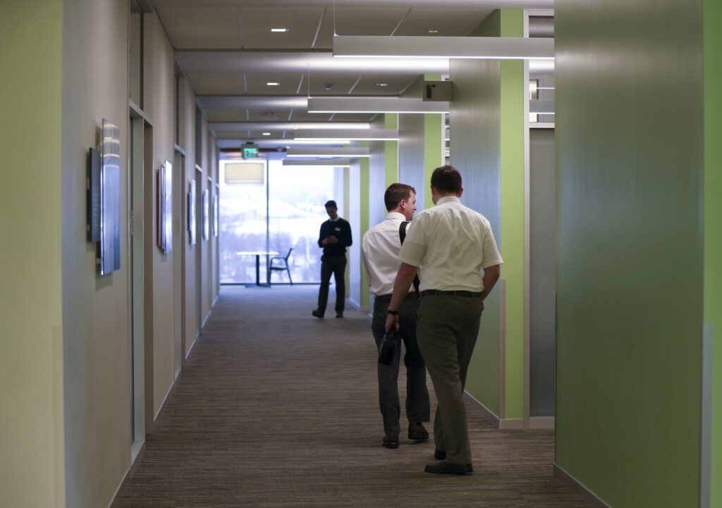 A limited number of training missionaries, instructors and staff are left to walk the hallways of the Provo Missionary Training Center on Wednesday, March 25, 2020. The last groups of missionaries in The Church of Jesus Christ of Latter-day Saints' 10 missionary training centers around the world will be leaving by the end of the week.
