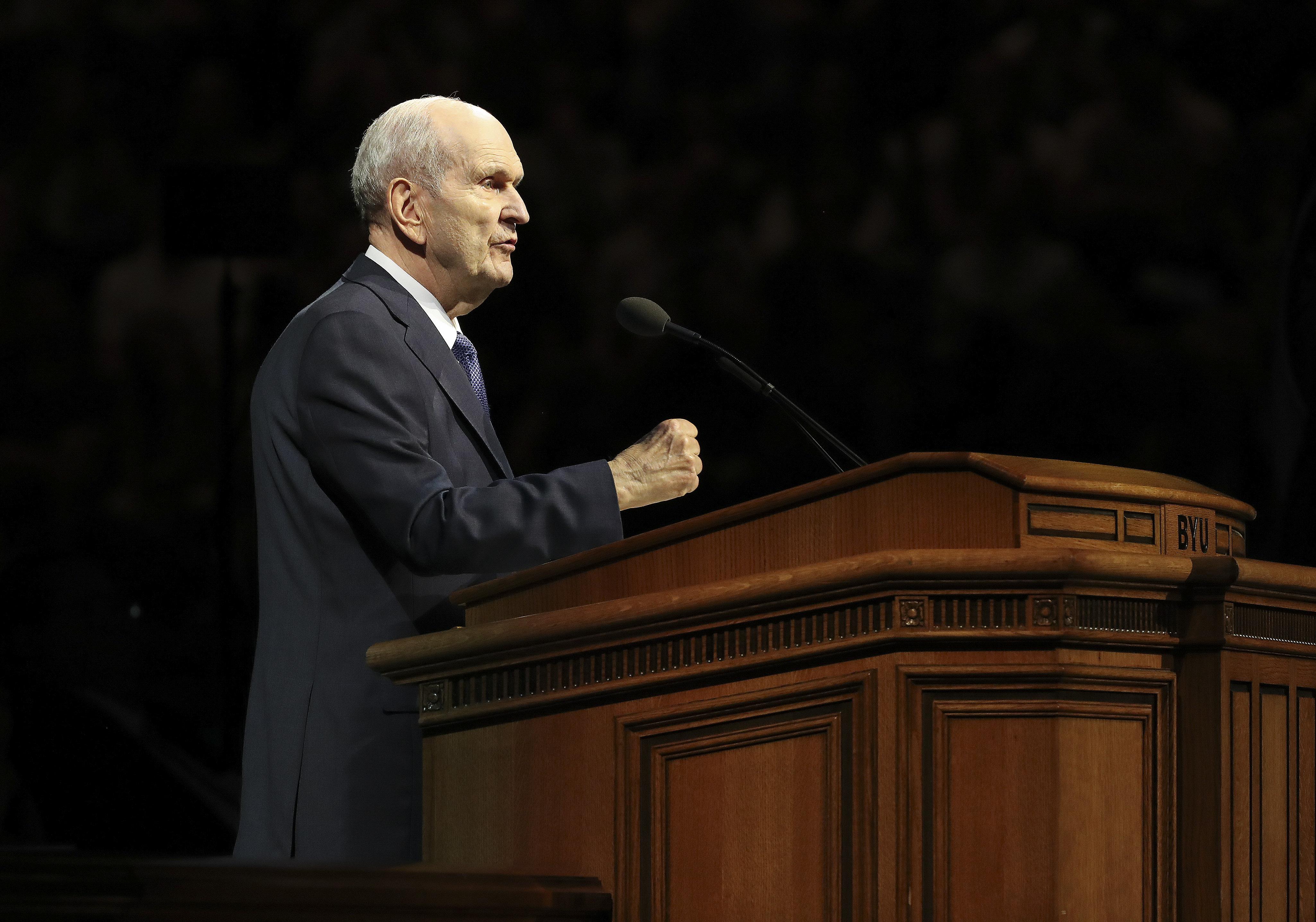 O presidente Russell M. Nelson, de A Igreja de Jesus Cristo dos Santos dos Últimos Dias, fala durante um devocional na Universidade Brigham Young University em Provo na terça-feira, 17 de setembro de 2019.
