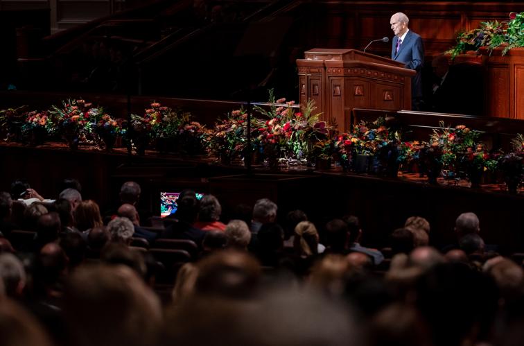 Presidente Russell M. Nelson fala durante a sessão do sábado à tarde da Conferência Geral Semestral de nº 189 de A Igreja de Jesus Cristo dos Santos dos Últimos Dias no Centro de Conferências em Salt Lake City no sábado, dia 5 de outubro, 2019.
