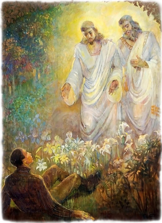 """""""A Primeira Visão"""", 1934, de Minerva Teichert, que era membro da Igreja, mostra um momento chave da Restauração."""