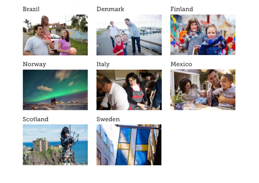 Na página inicial do país de origem, os usuários do FamilySearch encontrarão páginas para o Brasil, a Dinamarca, a Escócia, a Finlândia, a Itália, o México, a Noruega e a Suécia, e muitos outros países estão por vir.