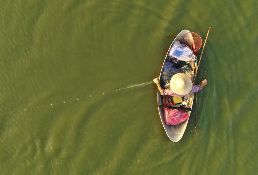 Um homem pesca com uma rede em Hanói, Vietnã, no sábado, dia 16 de novembro, 2019.