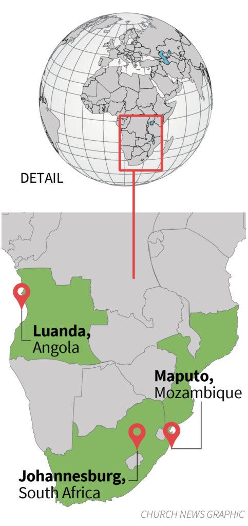 As cidades que o élder Holland visitou durante seu período na Área África Sudeste.
