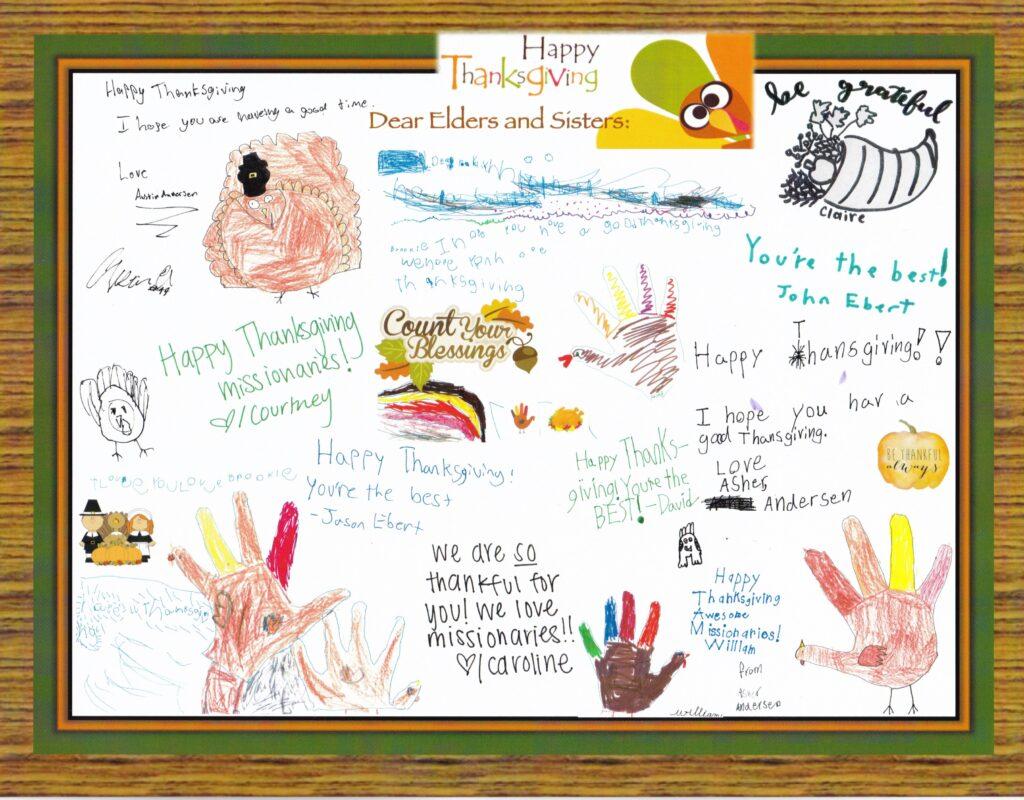 Os netos do élder Neil L. Andersen e irmã Kathy Andersen criaram este cartão de Ação de Graças, que foi distribuído aos missionários durante o devocional do dia 28 de novembro, 2019, no Centro de Treinamento Missionário de Provo e em outros CTM internacionais.