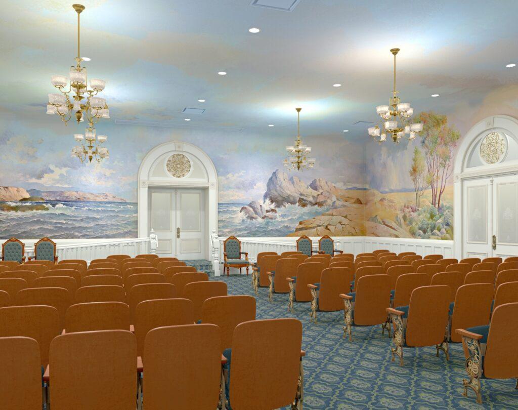 Uma representação artística da renovada sala da criação no Templo de Salt Lake, dezembro de 2019.