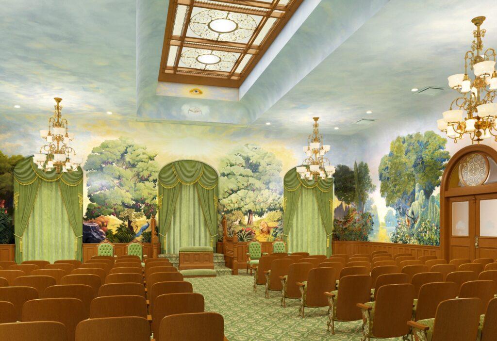 Uma representação artística da renovada sala do jardim no Templo de Salt Lake, dezembro de 2019.