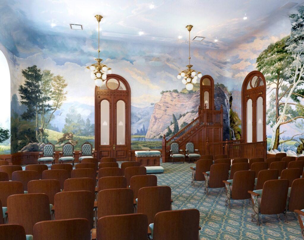 Uma representação artística da renovada sala do mundo no Templo de Salt Lake, dezembro de 2019.