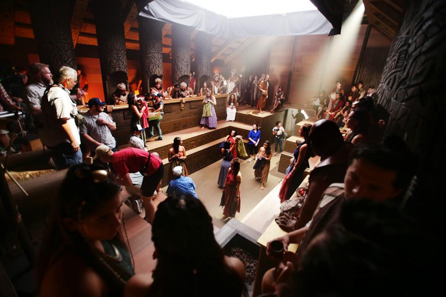 A corte do rei Noé é retratada nas filmagens enquanto o trabalho de produção da série de vídeos do Livro de Mórmon continua em Provo, Utah, no Motion Picture Studio na terça-feira, 3 de setembro de 2019.
