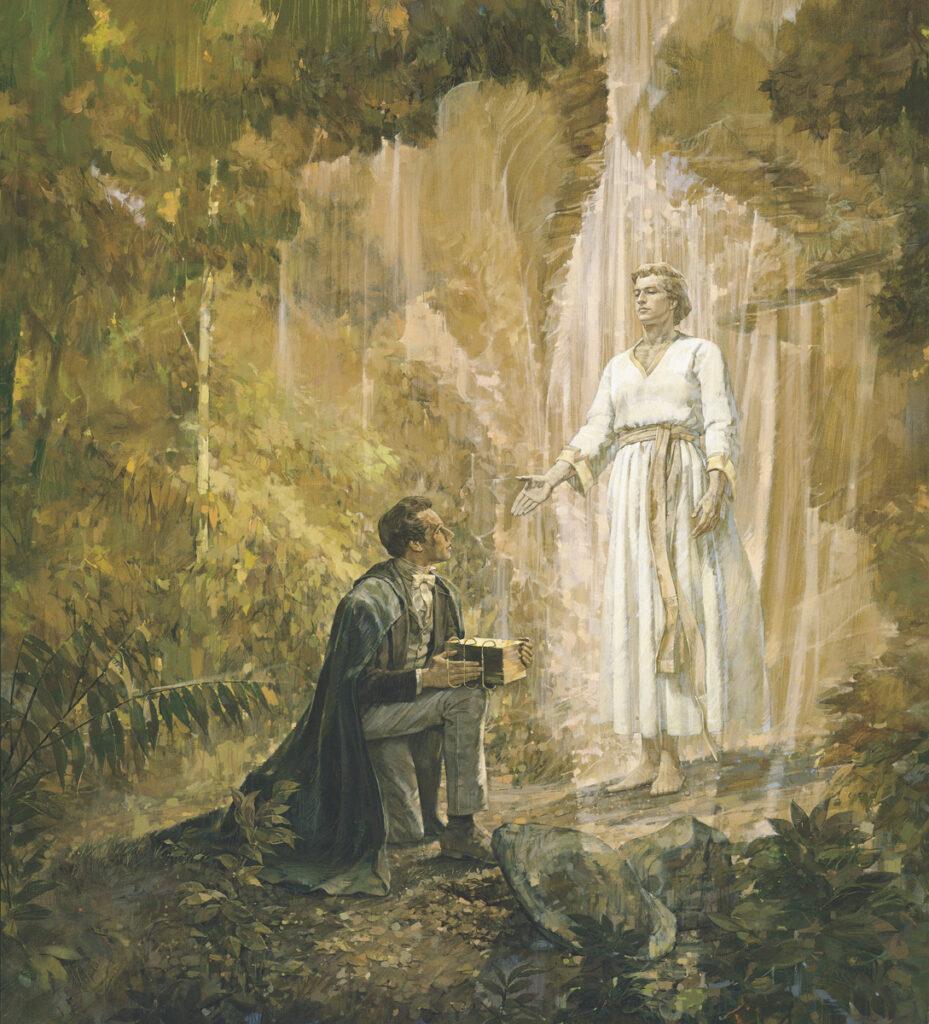 """A pintura """"Joseph Smith Recebe as Placas de Ouro"""" do artista Kenneth Riley."""