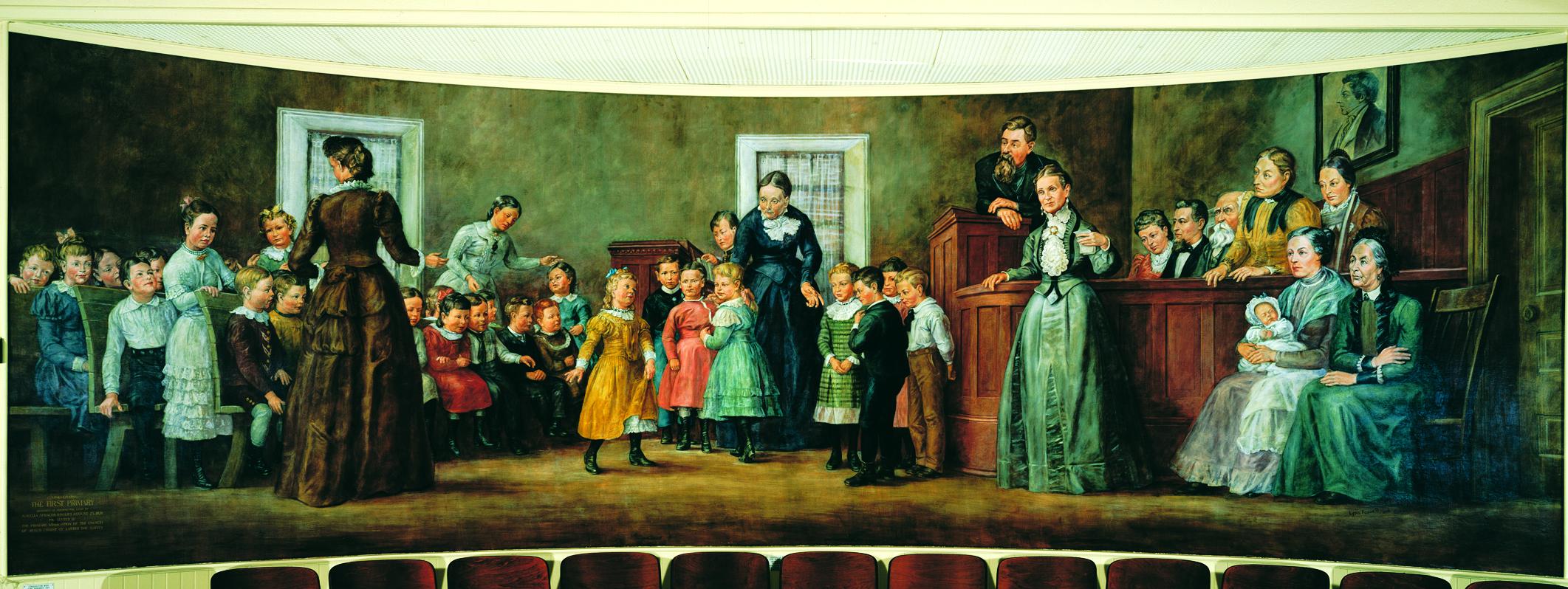 Un mural que muestra la primera reunión de la Asociación de la Primaria. Pintado por Lynn Fausett y Gordon Cope.