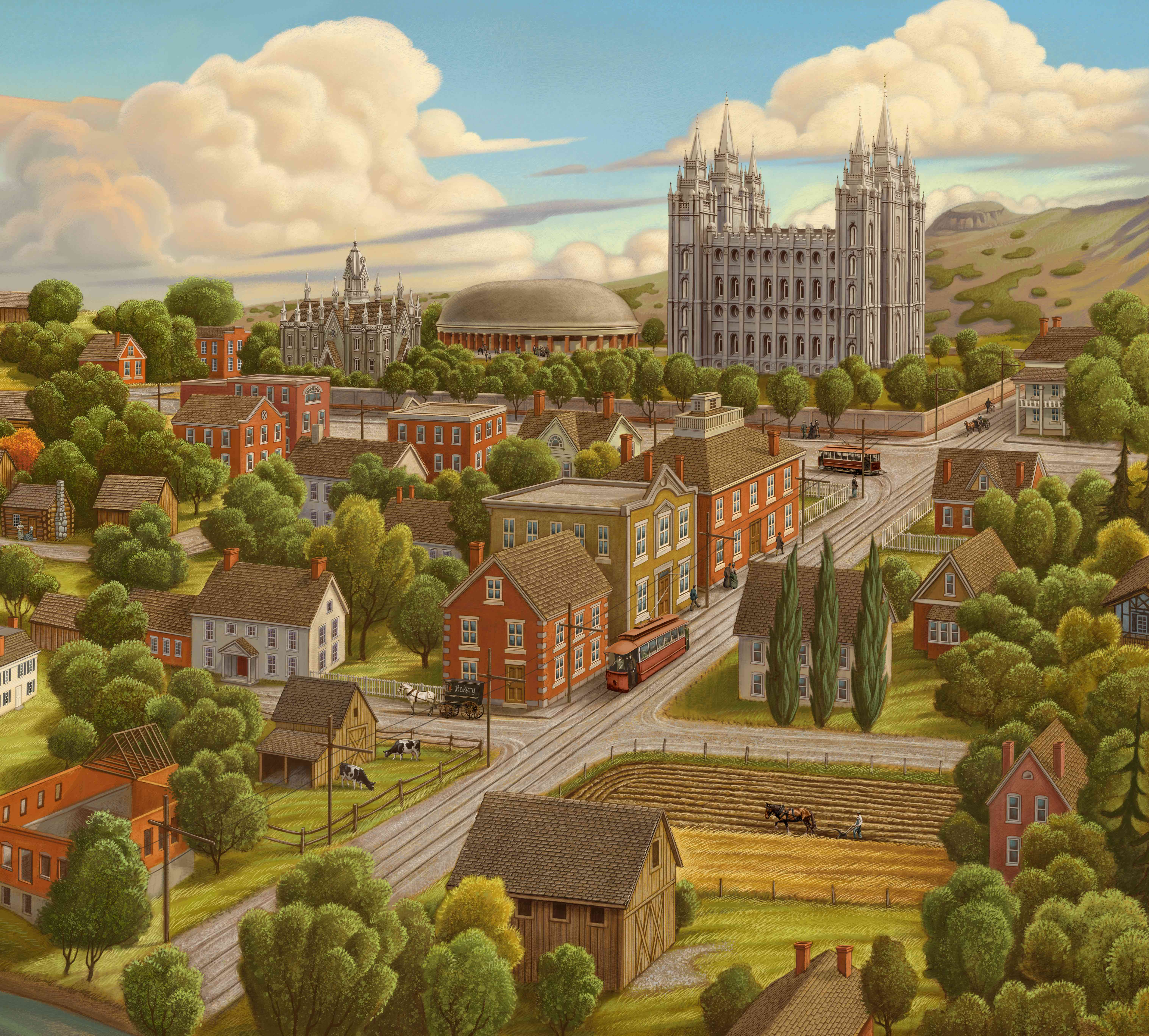 Una representación artística del valle de Salt Lake en los primeros años del asentamiento pionero.