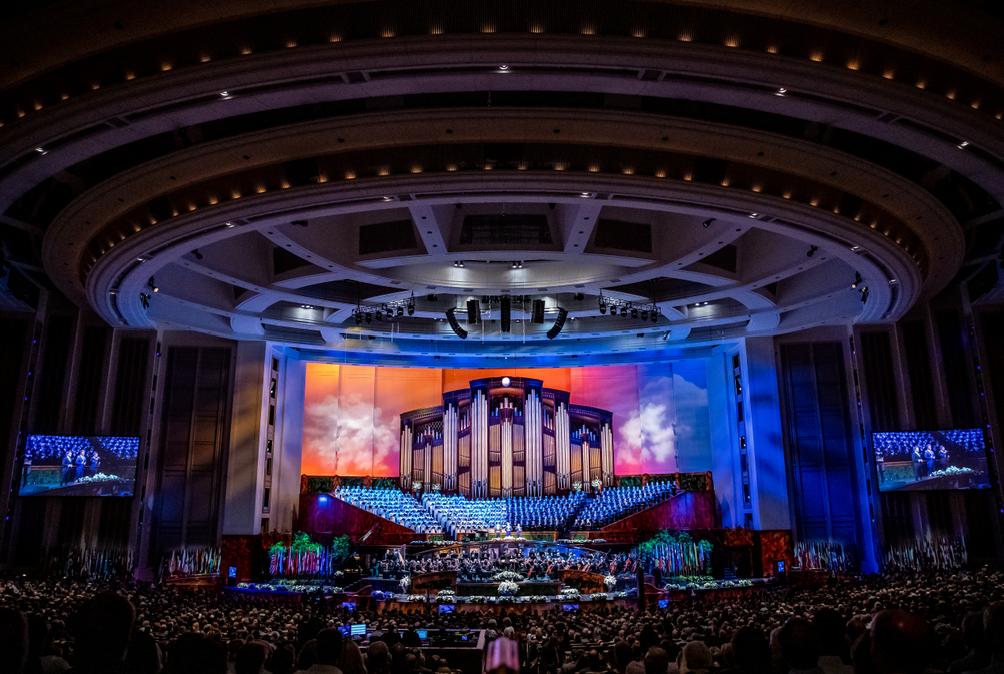GENTRI se presenta en una celebración del 95° cumpleaños del presidente Russell M. Nelson, de La Iglesia de Jesucristo de los Santos de los Últimos Días, en el Centro de Conferencias, en Salt Lake City, el viernes, 6 de septiembre de 2019.