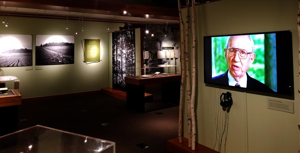 """La exposición """"Una columna de luz"""" en BYU incluye varios elementos multimedia que les permiten a los visitantes adquirir un mejor entendimiento de la Primera Visión."""