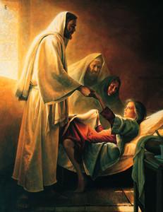 """La pintura """"Jesús bendice a la hija de Jairo"""", de Greg K. Olsen, muestra al Salvador con la muchacha joven."""