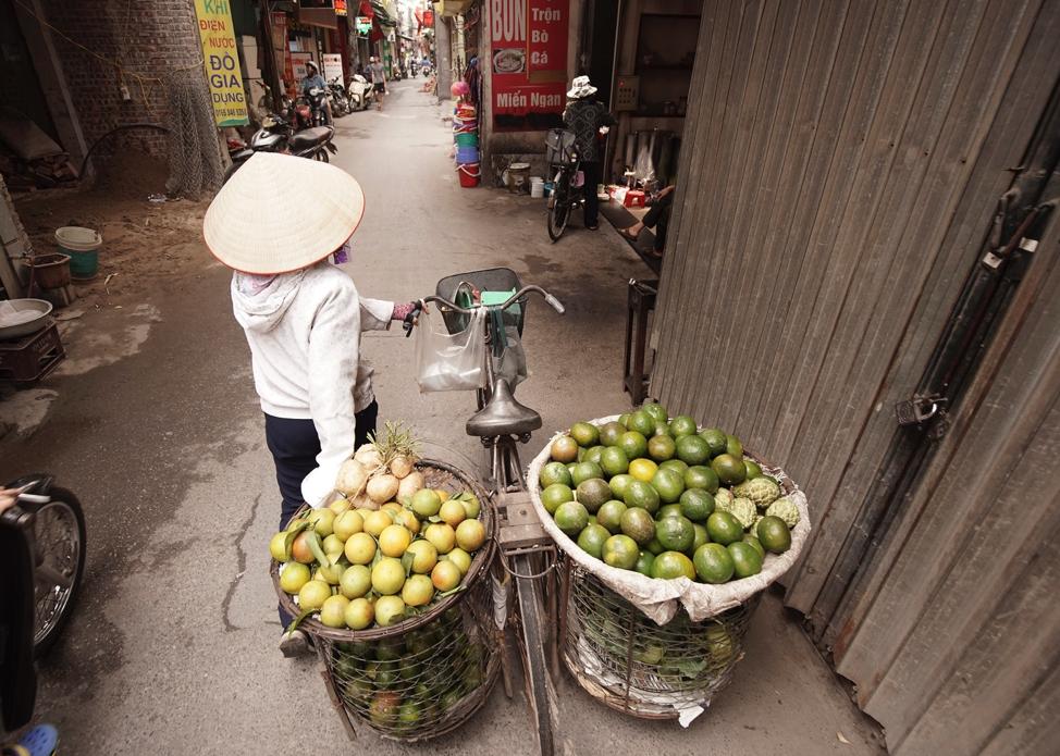 Una mujer vende frutos en Hanói, Vietnam, el domingo 17 de noviembre de 2019.