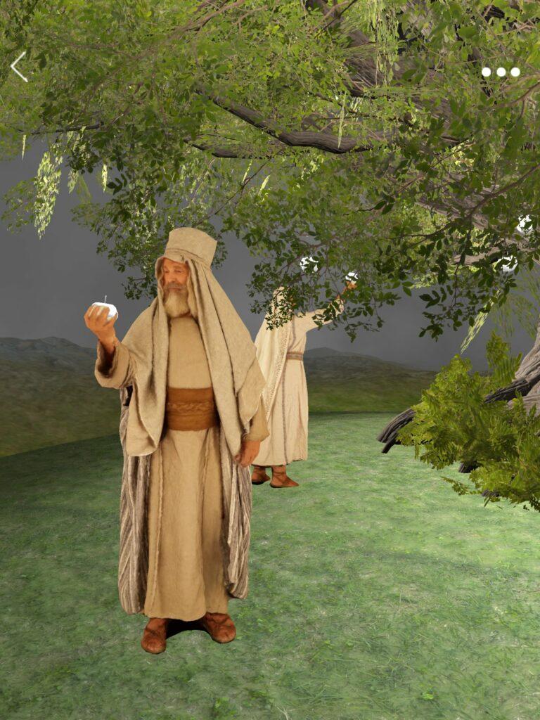 Una captura de pantalla de la aplicación Árbol de la vida RA en un teléfono móvil muestra un primer plano ampliado de uno de los elementos de la visión: el árbol de la vida.