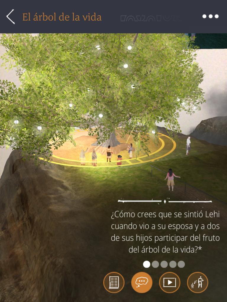 Una captura de pantalla de la aplicación Árbol de la vida RA en un teléfono móvil. Las escrituras, videos y preguntas para pensar le ayudan a aprender más y a relacionar los elementos de la visión con su propia vida.