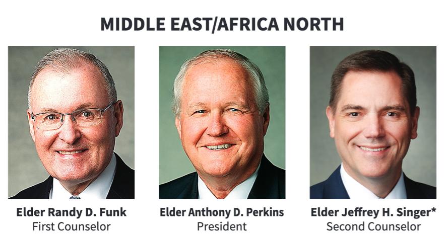 La presidencia del Área Medio Oriente/África Norte en 2020. *El élder Jeffrey H. Singer es setenta de área.