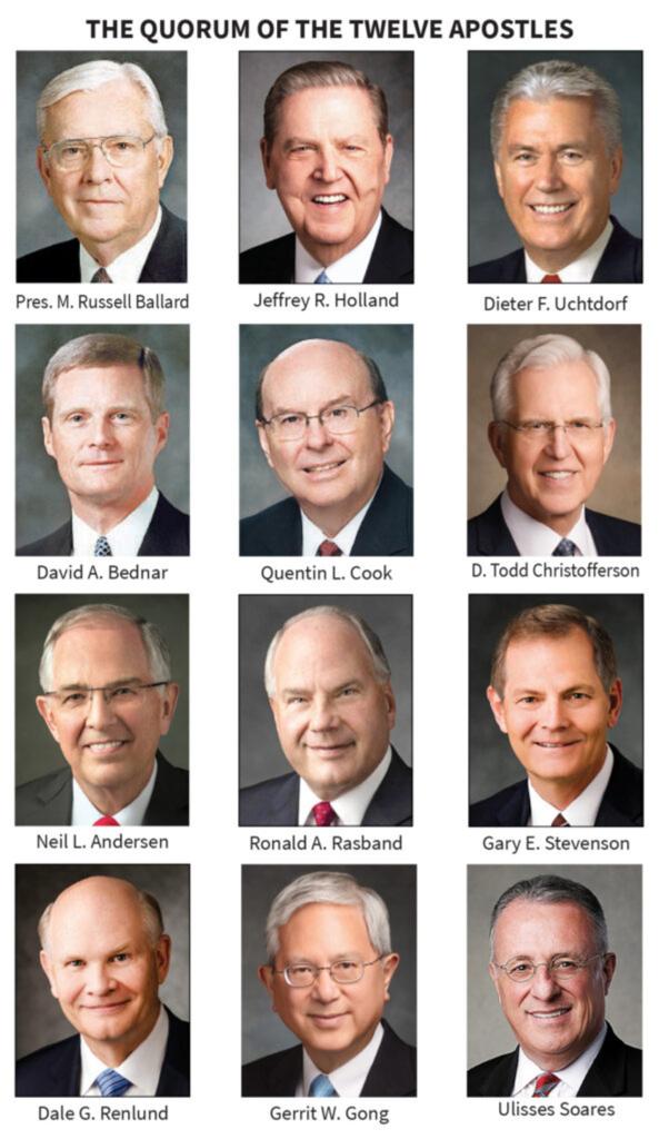 El Cuórum de los Doce Apóstoles en 2020.