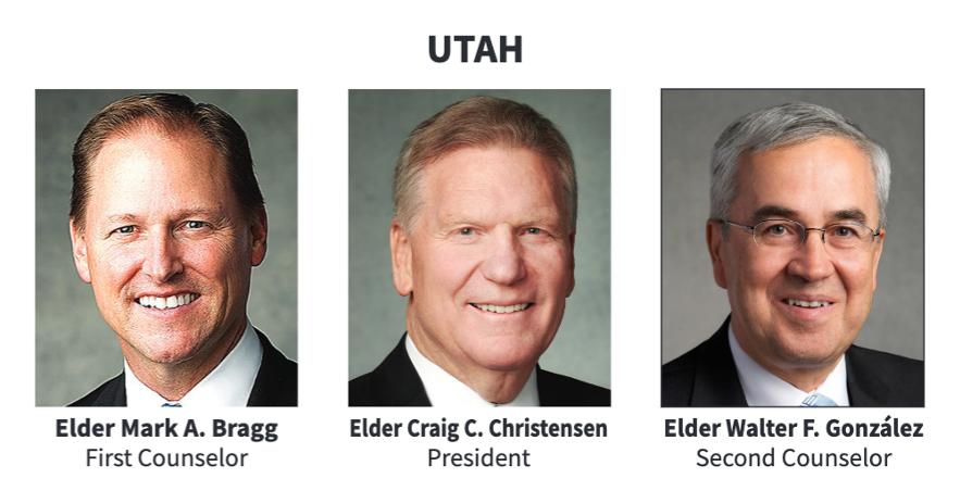 La presidencia del Área Utah en 2020.